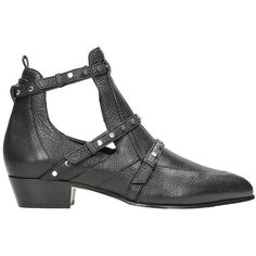 Harley 30 Cut Out Booties ($884) ❤ liked on Polyvore featuring shoes, boots, ankle booties, black, womenshoesboots, leather booties, black studded boots, low heel booties, black ankle booties and black boots