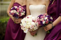 purple burgandy and white bouquets   ... for the bride s bouquet i wanted a clean petal y bouquet with all my