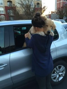 """This dog who knows the importance of """"one more hug"""". 