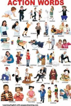 List of action verbs - action words. English grammar lesson in PDF