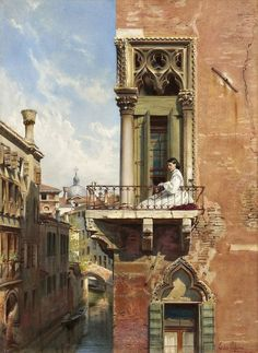 Ludwig Johann Passini Anna Passini dal balcone di Palazzo Priuli in Venezia Palazzo, Ancient History, Art History, Arte Latina, Venice Painting, Drawn Art, Art Antique, Classic Paintings, Italian Paintings