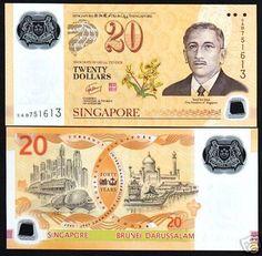 SINGAPORE-20-P53-2007-40-CIA-COMMEMORATIVE-UNC-POLYMER-BRUNEI-CURRENCY-MONEY