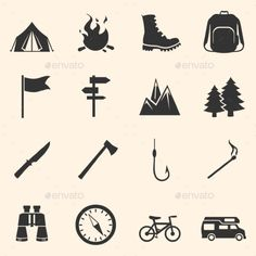 Set of Hiking and Camping Icons (Vector EPS, CS, axe, backpack, bicycle, binoculars, bonfire, boots, camp, camping, camping tent, climbing, compass, fire, fishing, flag, forest, hiking, icon, journey, knife, matchstick, motorhome, mountains, pointer, recreation, signpost, sport, tourism, travel, tree, vector)