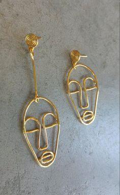 Wire Face Earrings, Absract Face Earrings, Single Long Earring, Face Earrings Gold Wire, Long Face E Evil Eye Earrings, Face Earrings, Rose Gold Earrings, Gold Hoop Earrings, Unique Earrings, Statement Earrings, Women's Earrings, Face Jewellery, Tribal Jewelry