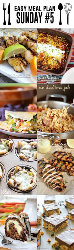 Easy Meal Plan Sunday #5 - Use these 8 amazing dinner and dessert recipes to plan your meals this week! They are all from bloggers you know and love, so they are sure to impress!