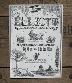 Wind in the Willows Custom Design Letterpress Birth Announcement.  via Etsy.
