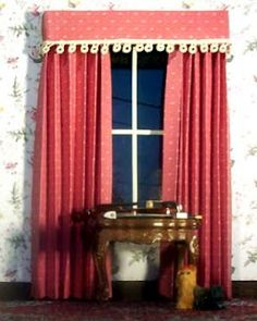 Let's Make Some No-Sew Doll House Curtains Tutorial From Jennifer Brooks of Jennifer's Free Dollhouse Printables - Miniature Doll House Ideas & DIY - dollhouse Victorian Dollhouse, Dollhouse Dolls, Miniature Dolls, Dollhouse Miniatures, Doll House Crafts, My Doll House, Barbie House, Doll Furniture, Dollhouse Furniture