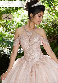 Be the talk of the night in this gorgeous quinceanera ball gown 89252 by Vizcaya. Showcasing an elegant high neckline adorned with applique all over th. Quince Dresses, 15 Dresses, Pageant Dresses, Rose Gold Quinceanera Dresses, Quinceanera Ideas, Mori Lee, Occasion Dresses, The Dress, Marie