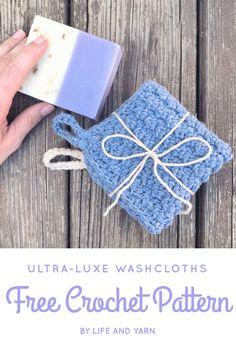 Ultra-Luxe Washcloths Free Crochet Pattern - Life and Yarn Spa Crochet Patterns, Crochet Designs, Crochet Ideas, Free Crochet, Crochet Gifts, Crochet Humor, Crochet Projects, Craft Projects, Craft Ideas