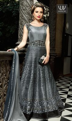 Phenomenal Grey Color Silk Designer Anarkali Suit Vogue and trend could be on the peak of your elegance the moment you attire this grey color silk designer anarkali suit. The desirable embroidered work a substantial attribute of this attire.