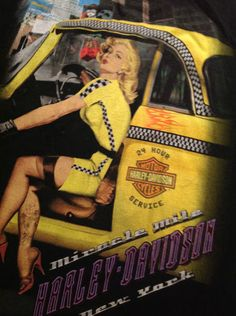 Harley Davidson Motorcycles - Miracle Mile New York City Yellow Taxi Cab Black T Shirt Size Med $14.99
