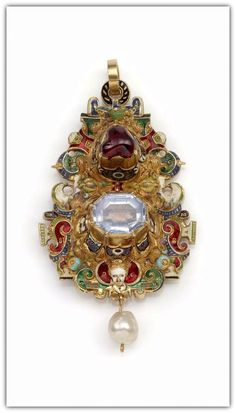 Pendant -- Circa 1570 -- Southern Germany, Champlevé enamel, enameled gold, aquamarine, ruby, & pearl.