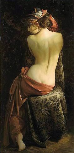 Artist: Serge Marshennikov (Russian, b. 1971), oil on canvas {figurative realism art discreet semi-nude female seated woman posterior back painting #loveart}