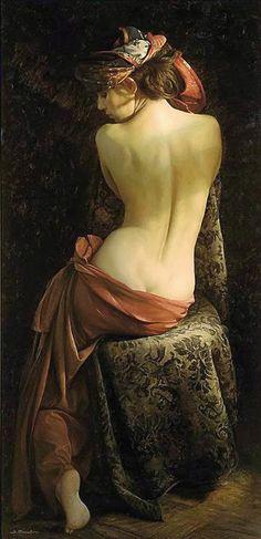 Artist: Serge Marshennikov (Russian, b. 1971), oil on canvas {figurative realism art discreet semi-nude female seated woman posterior back painting #loveart}