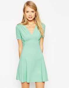 ASOS Skater Dress with Ruched Bust Detail at asos.com #a-linedress #offduty #women #covetme