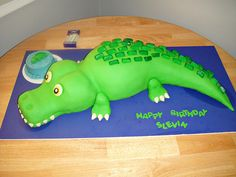 Alligator theme birthday cake
