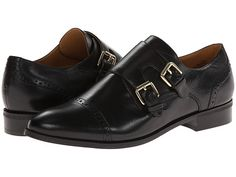 Black double monk-strap oxfords - menswear chic. Would look super cute with a tunic & leggings or a sheath dress
