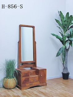 欅材/アンティーク鏡台/姿見/古録展 【昭和中期】H-856-S【送料ランク】 K Ladder Decor, Dresser, Mirror, Antiques, Table, Room, Furniture, Home Decor, Antiquities
