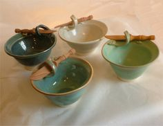 Pottery by the Sea - Love the handle on these bowls. Small salt or mustard spoon perhaps