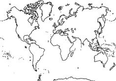 Horizontal Continents In World Map Coloring Page : Kids Play Color