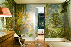 Wallpapers | de Gournay; only accent walls, likely