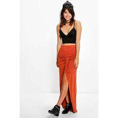 Boohoo Night Kaira Wrap Front Tie Waist Maxi Skirt ($16) ❤ liked on Polyvore featuring skirts, spice, long bodycon skirt, white midi skirt, long white pleated skirt, pleated maxi skirt and long skirts