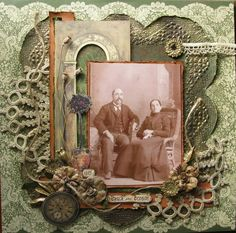 Ovila and Octavie...The background paper was turned into a frame befitting of the Gilded Age, the era this photo was taken in. A molding paste was used to create the pattern and then gold leaf powders were sprinkled over the paste, creating the ornate gold frame. It was then distressed a bit with sprays and embellished with old laces and trims...an awesome effect.