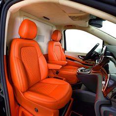 custom interior orange grey black and white. seats door panels