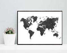 World Map, Black Watercolor, Poster, Printable Art, Watercolor Map, Travel Poster, Home Decor, Wall Art, Instant download, Wall decor