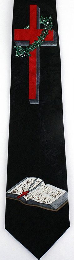 New Red Cross & Holy Bible Mens Necktie Christian Jesus Religious Black Neck Tie #StevenHarris #NeckTie