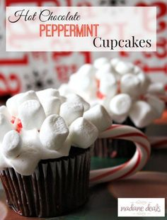 Hot chocolate peppermint  cupcakes that is full of great holiday flavors and super adorable looking.