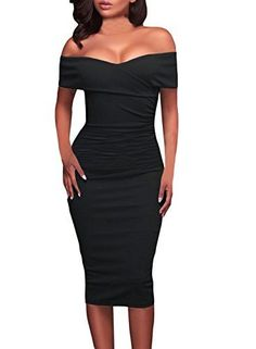 Get your bardot on in this figure-flattering dress Women sexy off the shoulder slim fit bodycon cocktail party midi dress. This dress has a sponge cups padded ,so not see though Size:S M L XL(inches) High Elasticity S—Bust:Relax 27.6 Stretched 36.6—Waist:Relax 25.6 Stretched...