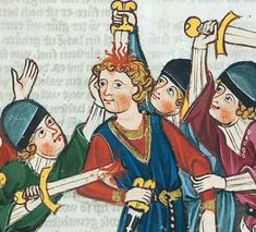 Medieval manuscripts were the imageboards of their day, full of murderous illustrations, however for some strange reason many people look as if they were bored with life anyway and their killer did them a service. Medieval Drawings, Medieval Paintings, Renaissance Paintings, Medieval Art, Art Memes, Memes Arte, Medieval Manuscript, Illuminated Manuscript, Classical Art