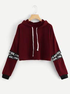 201f9a07015 Random Letter Tape Split Sleeve Sweatshirt. Sweaters And JeansCrew Neck  SweatshirtGrey SweatshirtPulloverSweatshirts ...
