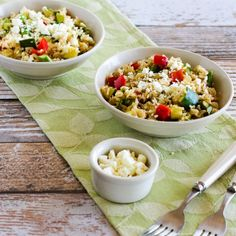 This gluten-free Slow Cooker Brown Rice Veggie Bowl with Feta can cook without heating up the house!