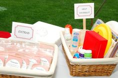 the 'help yourself' basket - bubbles! Frisbees! Hoopla hoops! Bug spray!