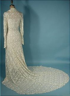 c. 1930's White Trained Lace Wedding Coat!  Comes with Simple White Slip