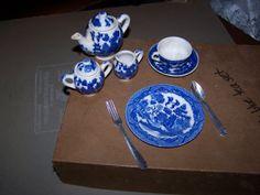 Toy Tea Set - blue pattern ceramic