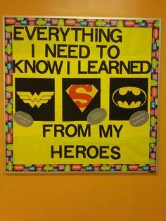 Who is your hero Superhero Classroom Door, Superhero Bulletin Boards, Superhero School, Superhero Room, Classroom Bulletin Boards, Classroom Themes, Classroom Organization, Super Hero Activities, Library Themes