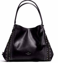 NWT COACH BLACK PEBBLE LEATHER EDIE 31 SHOULDER BAG HOBO WITH BANDANA  RIVETS #Coach #hoboshoulderbag