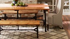 Pipe-frame table and bench.