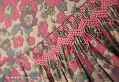 Mathilde1-001 Smocking Baby, Smocking Plates, Smocking Patterns, Liberty Betsy, Liberty Fabric, Liberty Print, Baby Girl Frocks, Frocks For Girls, Baby Girl Frock Design