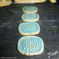 Fairy Garden Stepping Stones Set #79 | Set of 4 Miniature Tiles, Light Turquoise Blue with Dot Pattern  | Fairie Garden Accessory by HeritageVision on Etsy