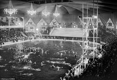 vintage swimming pool inside | Madison Square Garden transformed into swimming pool scene in Tex ...