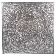 Aluminium Floral Embedded Wall Art Panel 38 x 38cm