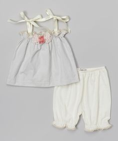 Love this Victoria Kids Blue Stripe Rosette Top & Cream Bloomers - Infant & Toddler by Victoria Kids on #zulily! #zulilyfinds