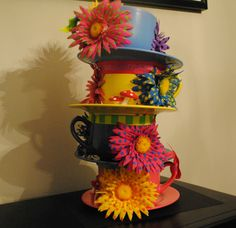 OVERSIZED, Stackable Teacups Centerpiece (3 tea cups high) - Alice in Wonderland/Mad Hatter Tea Party/UnBirthday. $69.00, via Etsy.