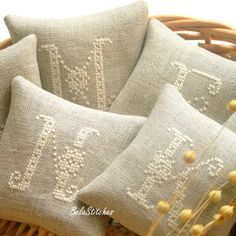 personalized lavender sachets - bridesmaid gifts by Bela Stitches, via Flickr
