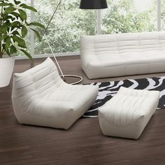 dCOR design Carnival Leatherette Chair and Ottoman