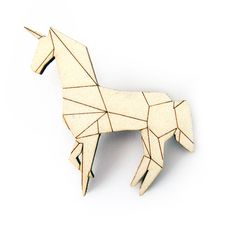 Origami unicorn hand painted wooden brooch